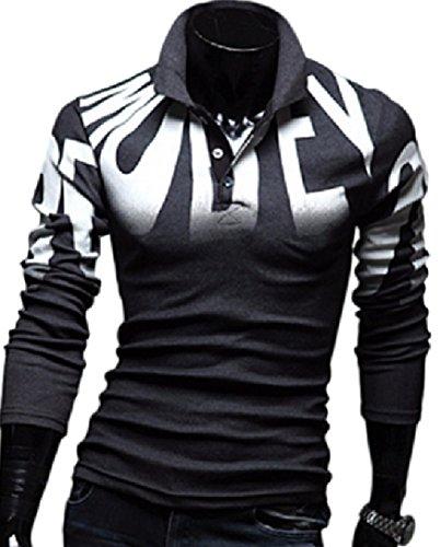 (ペプ) PEPU 英字 プリント カジュアル ロゴ メンズ カットソー 長袖 ボタン付き ポロシャツ 厚手 Tシャツ (XL, ダークグレー)