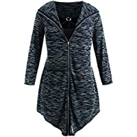 Women's Plus Size Hooded Zip-up Lightweight Jacket Cardigan with Top