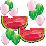 "Watermelon Theme Decorations - 35"" Watermelon Balloons 12pc Assortment - Fiesta Birthday Party Foil Mylar Latex Balloon Bundle Pack"