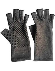 1ペアユニセックス男性女性療法圧縮手袋関節炎関節痛緩和ヘルスケア半指手袋トレーニング手袋 - グレーM