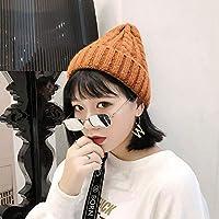 秋と冬の厚い暖かいウールの帽子の韓国語版女性ロールサイドツイストニット帽子カラメル色屋外の耳元の冷たいキャップの男性