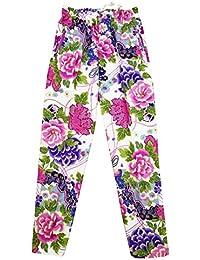 【金彩牡丹と桜?白ピンク紫】 義若オリジナルの股引き型ズボン 男性 女性 兼用
