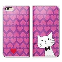 (ティアラ) Tiara シンプルスマホ4 704SH スマホケース 手帳型 ベルトなし 猫 ドット ネコ ヒゲ メガネ 手帳ケース カバー バンドなし マグネット式 バンドレス EB220010103003