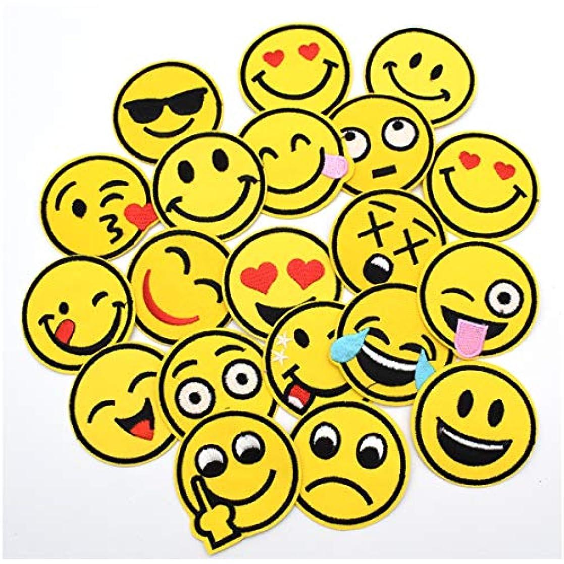 おとうさん湿地一目Lilor 20枚 ワッペン アップリケ アイロンワッペン 刺繍 ワッペンEmoji スマイリーフェイス 笑顔パッチ DIY(直径5.2cm)