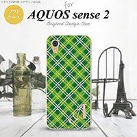 SH-04L SHV43 AQUOS sense2 スマホケース カバー チェックA 緑 【対応機種:AQUOS sense2 SH-04L SHV43】【アルファベット [S]】