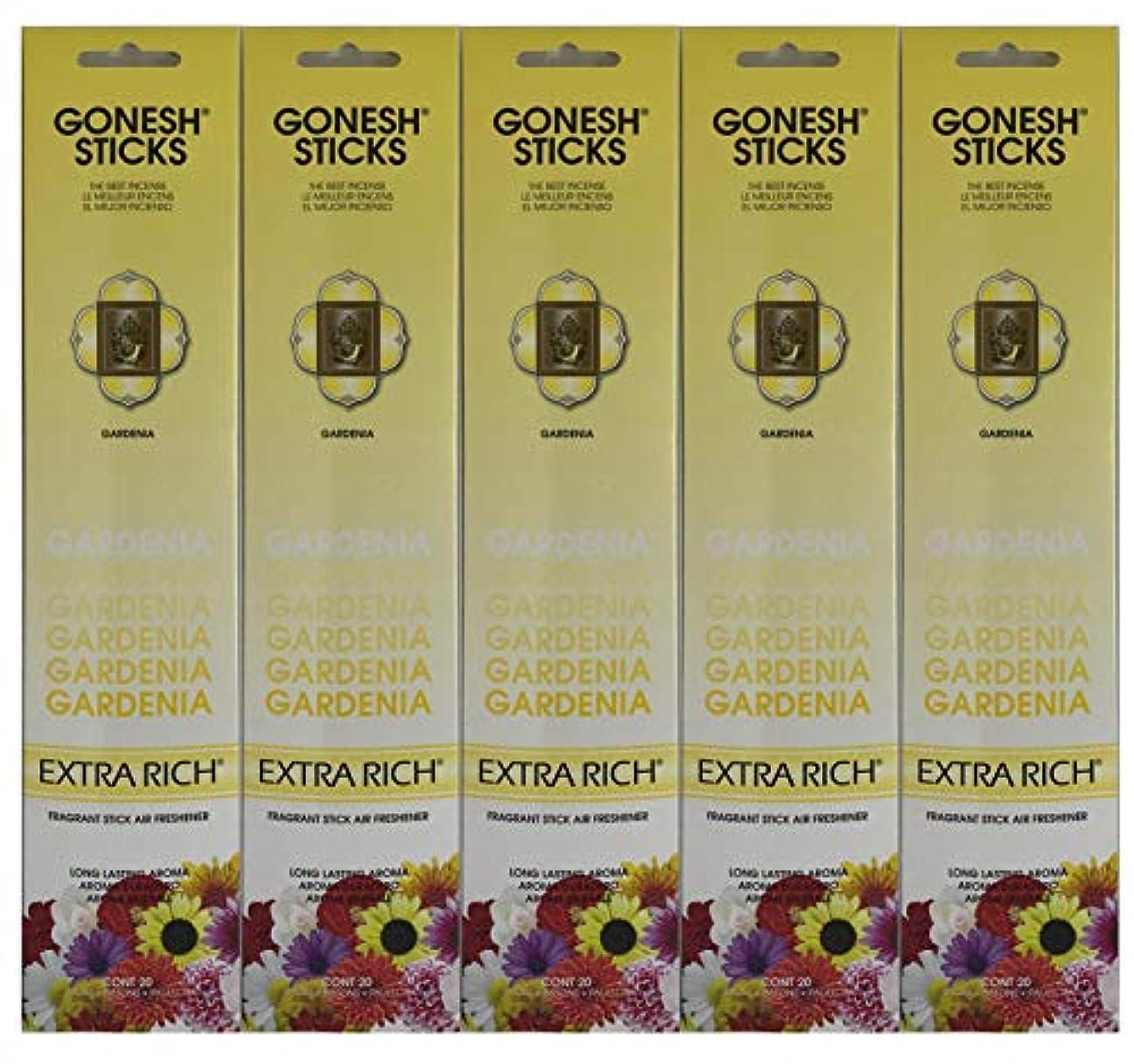 グレーコスト急襲Gonesh お香スティック エクストラリッチコレクション - Gardenia 5パック (合計100本)