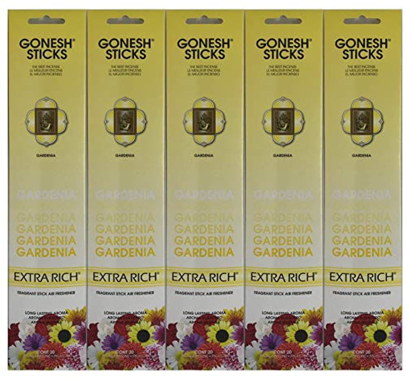 熱心嫌悪にじみ出るGonesh お香スティック エクストラリッチコレクション - Gardenia 5パック (合計100本)