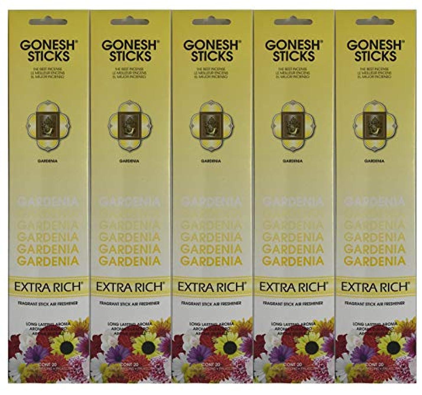 感嘆符登る会計士Gonesh お香スティック エクストラリッチコレクション - Gardenia 5パック (合計100本)