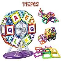 マグネットブロック LBLA 磁気立体パズル 子供 想像力と創造力を育てる 学習玩具 男の子 女の子 磁石ブロック 112ピース 磁気おもちゃ キッズ 車輪付き 積み木 収納ケース付き マグネットおもちゃ 誕生日プレゼント 出産祝い 入園ギフト