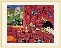 マティス・「赤い食卓:赤い調和」 プリキャンバス複製画・ 額付き(デッサン額/大衣サイズ/木地色)