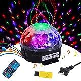 Tomshine ミラーボール ミニレーザー ステージライト マジックボール 18W LEDライト RGBW 多色変化 水晶魔球 音声起動 自走機能 リモコン USBデュアルスピーカー付き ディスコ/KTV/パーティー/バー/クラブ用
