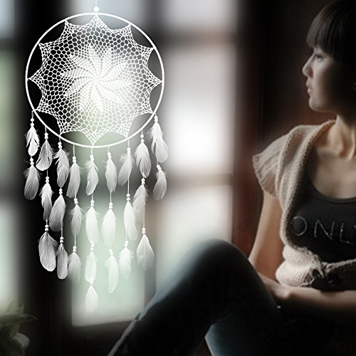 Chinatera 43.3'' White Floral Dream Catcher with Feathers Handmade Crafts Gift