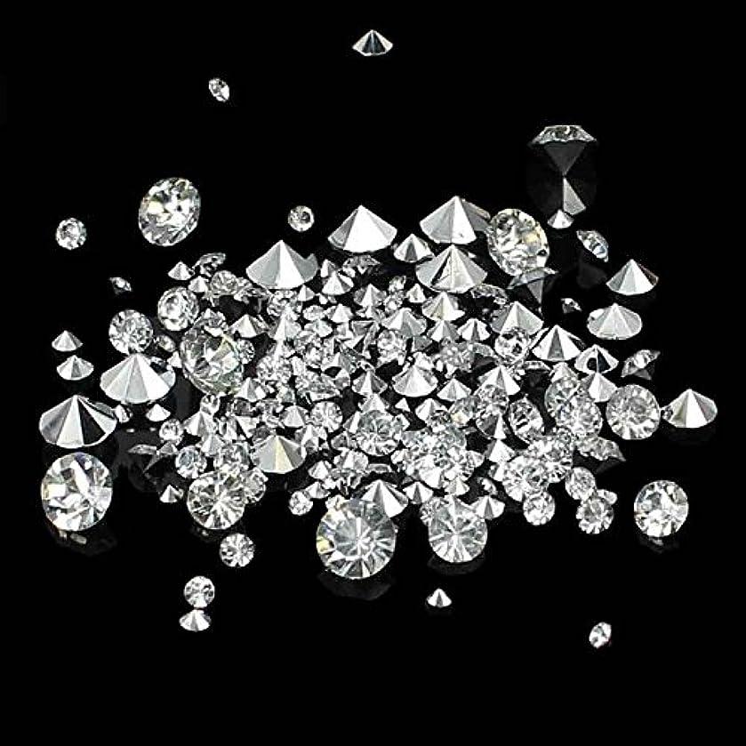 Nizi ジュエリー ブランド クリスタル/クリスタルオーロラ 尖った底ラインストーン は樹脂材質 DIYネイル使用 型番混合サイズ (1000pcs, クリスタル)