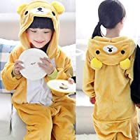 Stitch Overalls Jumpsuit Kids Children Animal Cosplay Costume Onesie Blanket Sleepers Pajamas Hyococ (Color : Bear, Size : 7)