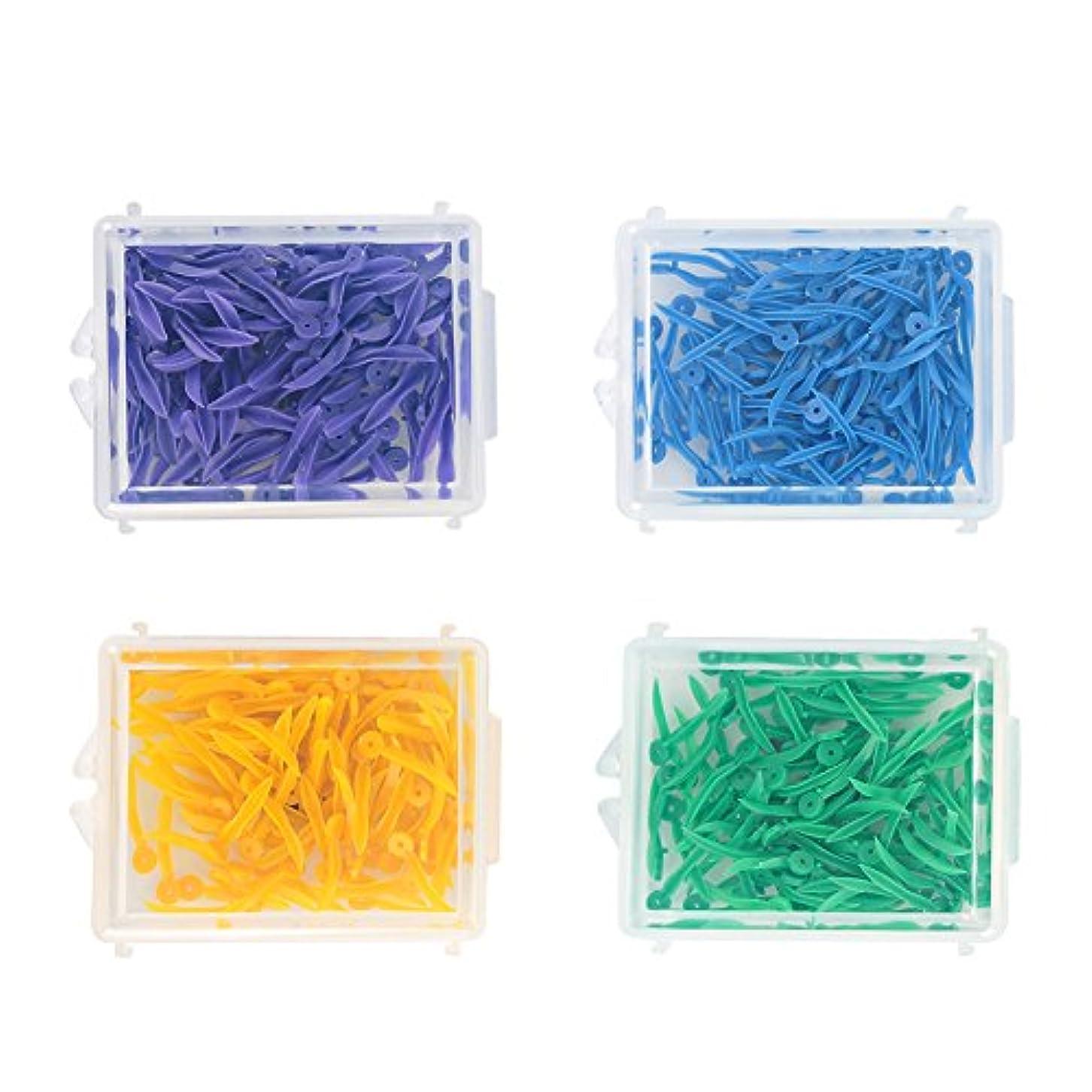 スラッシュ鷹エトナ山400pcs使い捨て歯科用プラスチック製くさびすべての4つのサイズウェーブシェイプウェッジ