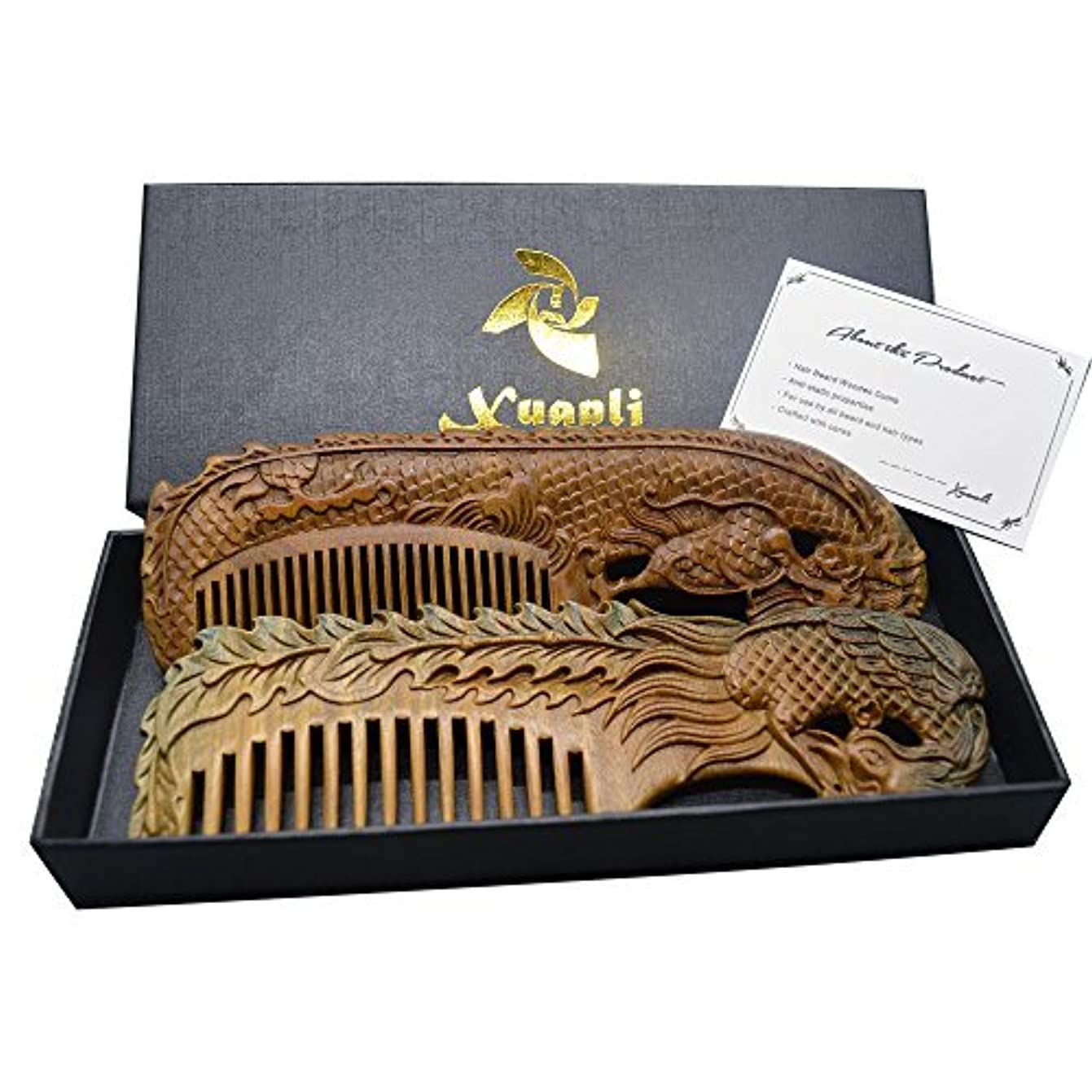 検索抽象ローンXuanli 2 pcs Natural SandalWood Comb Hair Care Anti Static Wooden Hair Massage Natural Brush Beard Comb (M014)...