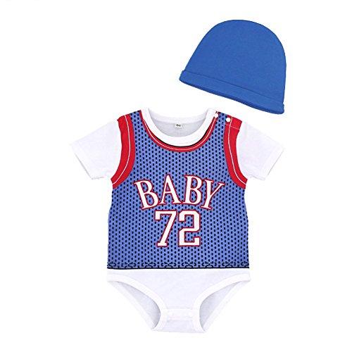 99963d7ea5d39 エルフ ベビー(Fairy Baby)バスケットボール ユニフォーム スポーツ服 帽子 ベビー服半袖 ロンパース 夏 青い サイズ:95  通気性の良い薄手素材の綿を使用しました ...