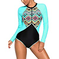 EVALESS Women's Zip Front Printed Long-Sleeve Rash Guard Shirt One Piece Swimsuit