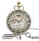 手巻き式 懐中時計 フックチェーン + ボールチェーン/ 革紐 + 化粧箱 セット (ブロンズ)