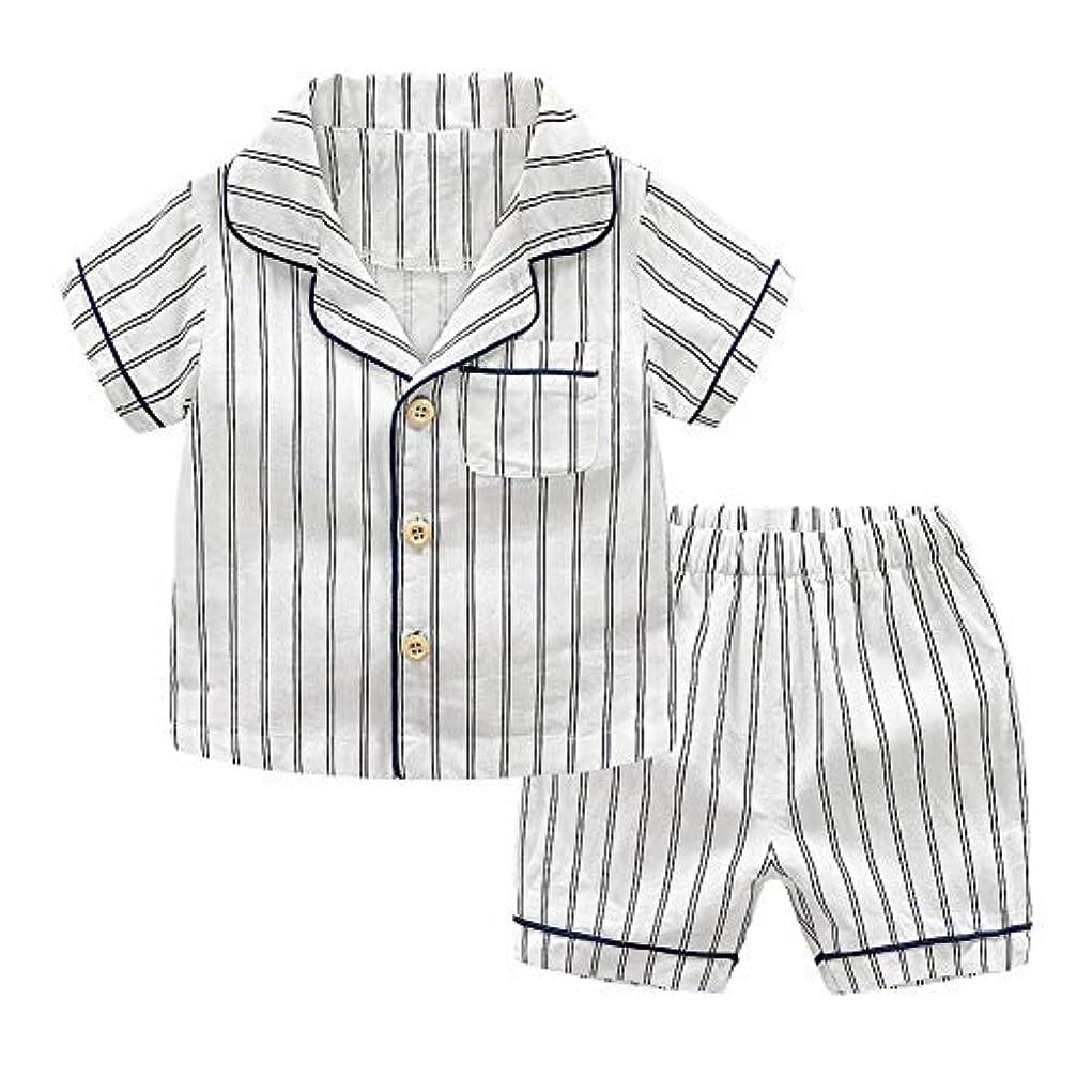 庭園夏苦しめるDXXCHUNG ベビー服 子供服 パジャマ 上下 セット シャツ 半袖 ハーフパンツ コットン 柔らかい size 90 (ホワイト)