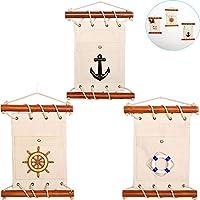 Tinton Life Oceanicスタイル装飾リネンWall Hangingストレージポケット DJYLQ70905A-GH5