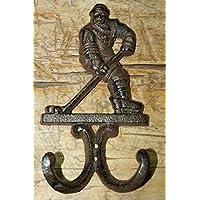 装飾鋳鉄 アンティークスタイル ホッケー選手コートフック 帽子フック ラック タオル スティッククラフト用品