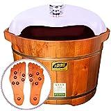 木製 足盆地, 足浴槽 マッサージ, 厚く フットバス 電気 一定の温度 暖房 ペディキュア ボウル スパ バレル-A