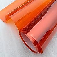 yazi-窓用ガラスフィルム 窓保護シート 目隠し プライバシーシート 断熱 遮光 オレンジ 50cmx100cm (100cm単位で切売)