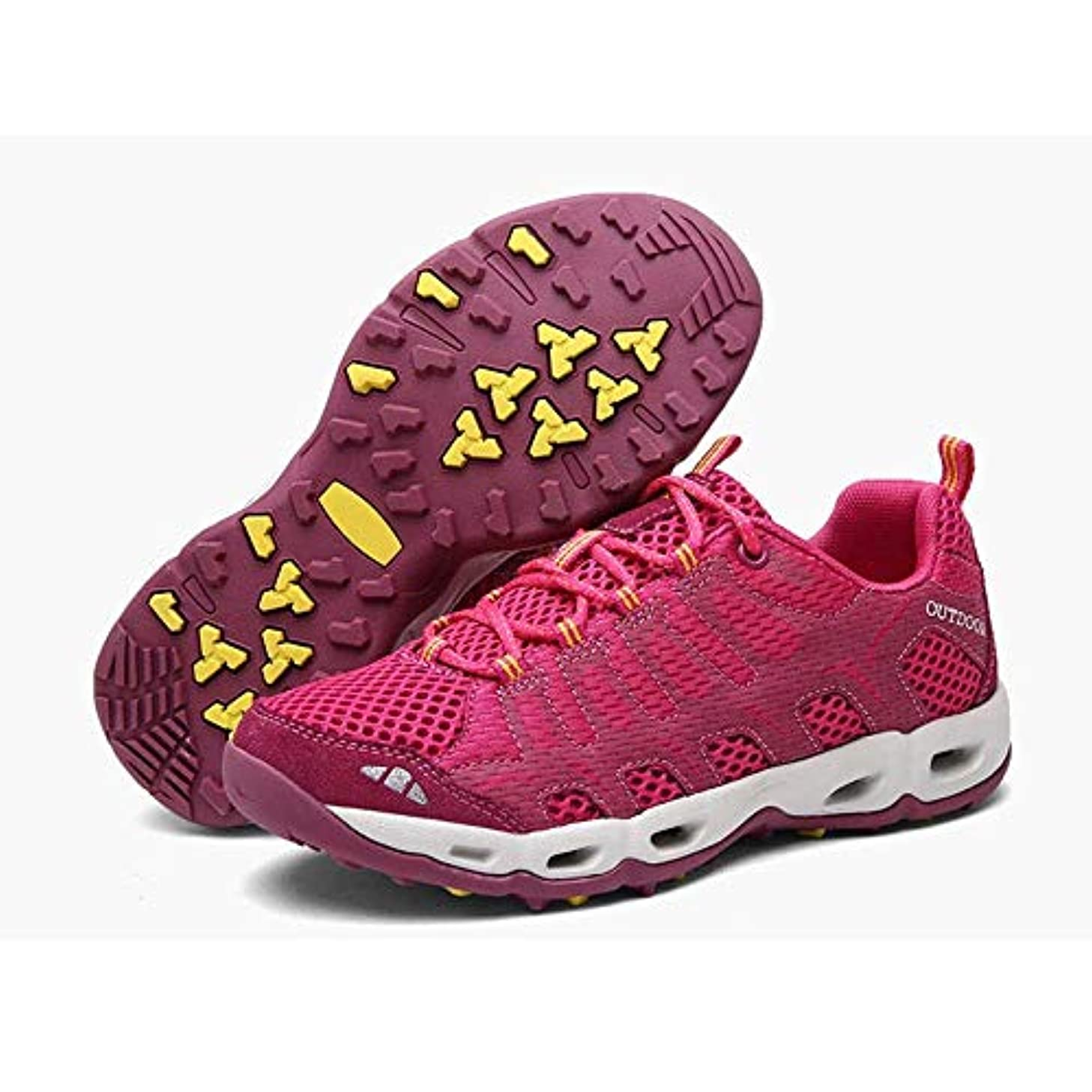 出くわすシャツ平方HYH 春と夏のゴムの滑り止めの吸汗性屋外ハイキングシューズカジュアルハイキングアップストリームの靴男性の軽量の滑り止め速乾性排水メッシュの靴と通気性のカップルUS-US 10.5 いい人生 (色 : Pink, Size : US6.5)