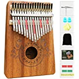 UNOKKI Unisex Kalimba 17 Keys Thumb Piano with Study Instruction and Tune Hammer, Portable Mbira Sanza African Wood Finger Piano, Gift for Kids Adult Beginners Professional Multicolor One Size