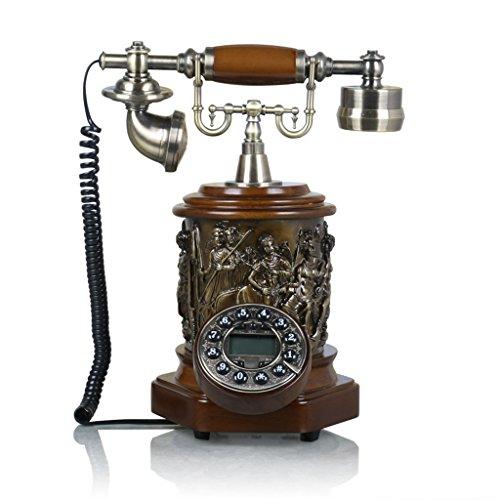 ソリッドウッドアンティーク電話/ボタン有線電話/ホームデスクトップマシン/発信者ID / L25CM * W17CM * H32CM