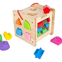 Muzx Shape Sortingマジックボックス--クラシックWooden Toy with 12図形