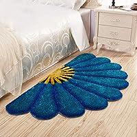 半円形フロアマットラグモダンな3Dセクターパッドベッドルームベッドサイドコンピュータチェアエントランスウェルカムマットホームデコレーションカーペット,Blue,80×150Cm
