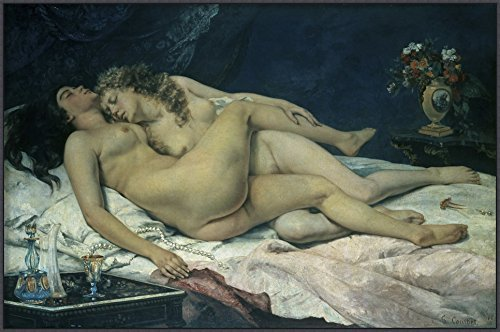 Sleep (Sommeil) by Gustave Courbet Framed Canvas by Amanti Art [並行輸入品]