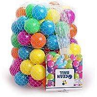 DNYCF カラーボール おもちゃボール 100個 直径5.5cm [やわらかポリエチレン製] 収納ネット付き プレゼント 赤ちゃん 玩具 ボール