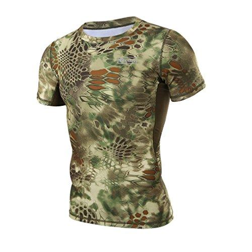 (上海物語)Shanghai Story ニシキヘビ紋 速乾素材 Tシャツ アーミー アメリカ軍 特殊部隊 メンズ クイックドライ 半袖Tシャツ L グリーン