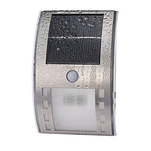[해외]방수 태양열 충전식 LED 라이트 스테인리스 적외선 모션 센서 라이트 야간 자동 점등 LED 전구 2 개 건전지가 필요없는 벽걸이 야외 조명 처마 마당 현관 주위 등 적용/Waterproof Solar Rechargeable LED Light Stainless Steel Infrared Motion Se...