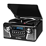 Victrola 50フィートレトロレコードプレーヤー 50 foot Retro Record Player with Bluetooth and CD + 1MORE MK802 Bluetooth Wireless Over-Ear Headphones with Apple iOS and Android (spkph973)【並行輸入品】Amazontry