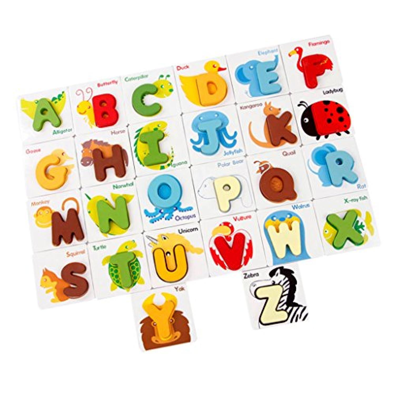Dovewill 木製 アルファベット 動物 マッチパズル 子供 脳のパワーを開発し 目と手の協調