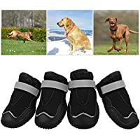 Petacc軽量犬メッシュ靴アンチスリップ犬のブーツ反射性ストリップ、黒、6と通気性のペットの足のプロテクター#
