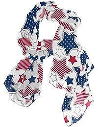 ユサキ(USAKI) ストール レディース 春夏 大判 UVカット 冷房対策 スカーフ シルク 肌触り ショール パーティー 90×180cm 星 柄 ブルー/レッド