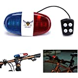 Oumers Kids Bike Police Sound Light Electronic Horn Bike LED Light- Bicycle Siren 5 LED Light 4 Sounds Trumpet, Warning Safety Light, Waterproof Bicycle Lights Accessories (Batteries Not Included)