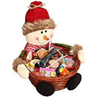 LiPing クリスマスキャンディストレージバスケット 7×6.3インチ サンタ クロース ストレージバスケット ギフトオーガナイザー ストレージバッグ 再利用可能 引っ越し L