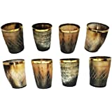 Handcrafted Natural Horn Glass 3 inch Polished with Brass Trim Set of 8 Pieces Natural Horn Glass Ideal for Bachelor Partys Polished with Brass Trim