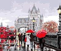 数字でDiy油絵、数字キットでペイント - 高架歩行者16 * 20インチリネンキャンバス - 大人のためのデジタル油絵壁アートアートワーク上級子供高齢者ジュニア