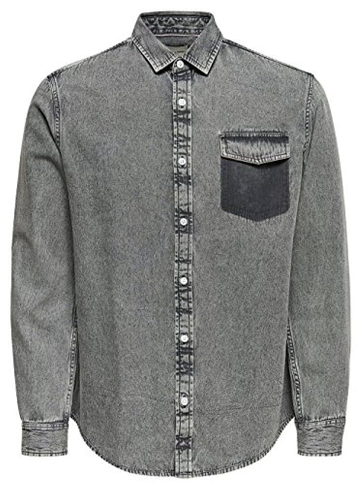 く呼び出すくそーOnly & Sons メンズ 22008745Grey グレー コットン シャツ