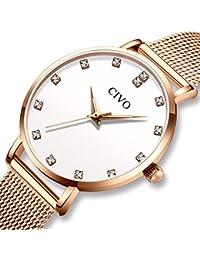 [チーヴォ]CIVO 腕時計レディース 女性時計薄型 ステンレスメッシュ防水ウオッチ シンプル watch for women クオーツ おしゃれ ファッション 綺麗 かわいい 淑女 ローズゴールド