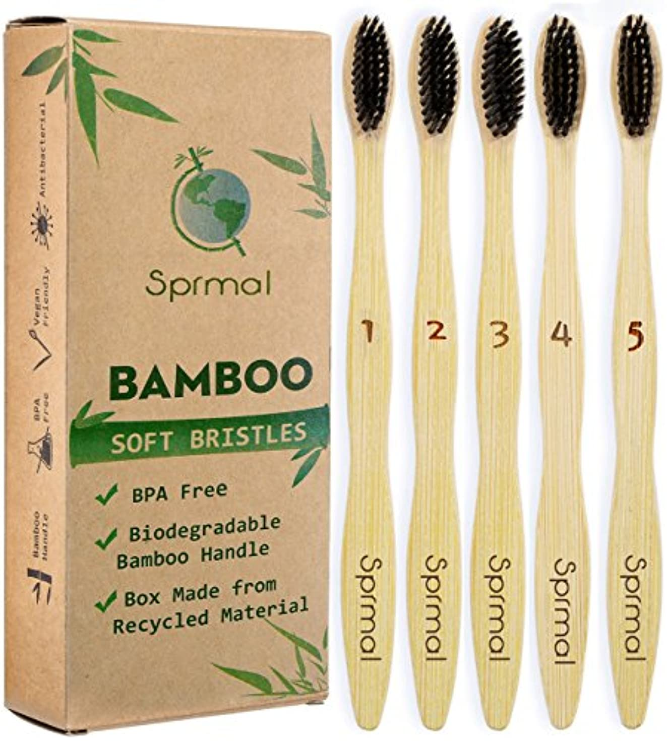 Sprmal Eco-Friendly Natural Bamboo Charcoal Toothbrush-Pack of 5,Individually Numbered,Zero Plastic Packaging,...
