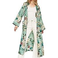 Romacci Women's Vintage Retro Floral Print Long Kimono Coat Jacket Long Sleeve Cardigan Maxi Shawl Tops with Belt