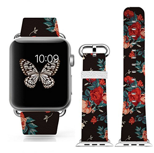 Apple Bands 38mmapple Watch Band Genuine Prime Elegant Leather Replacement for All Iwatch with Silver Metal Adapter - Vintage Big Flowers Pattern [並行輸入品]